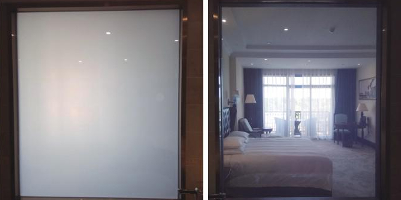smart glass applied bath room windows and doors