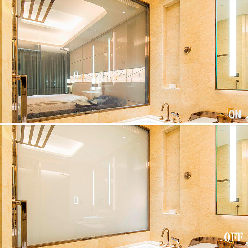 shower glass that frosts with a switch