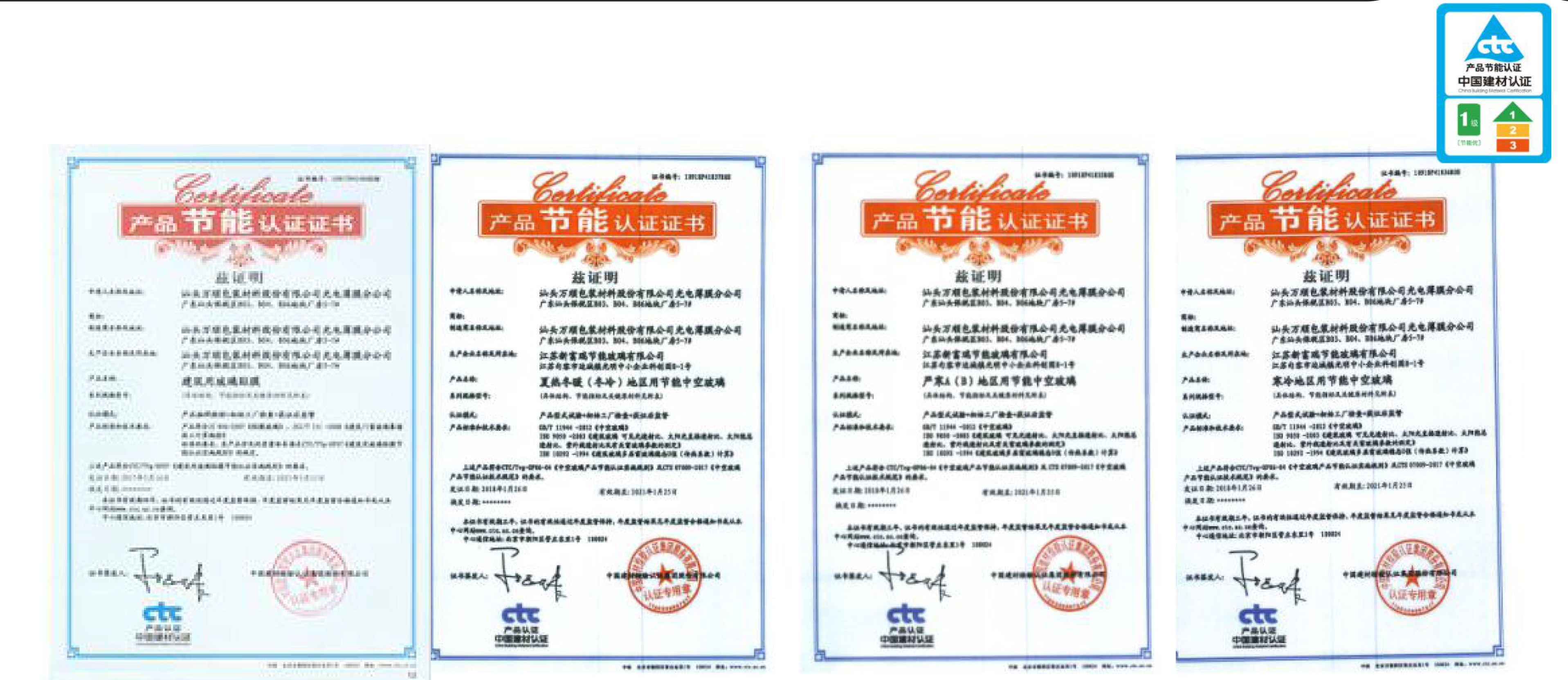China CTC Certifications of the Solar film