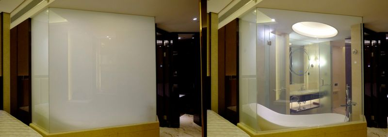 shower glass switchable